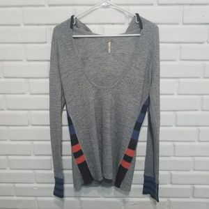 Free People Gray Striped Thermal Hooded Sweater L